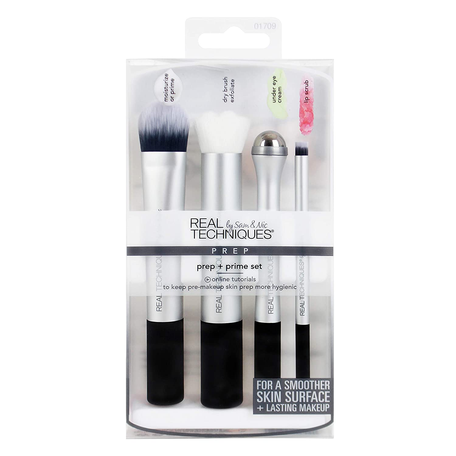 Real Techniques Prep & Prime Makeup Brush Set For Pre-Makeup Routine: Moisturizers Serums Primers Masks Eye Cream Exfoliation (Packaging May Vary)