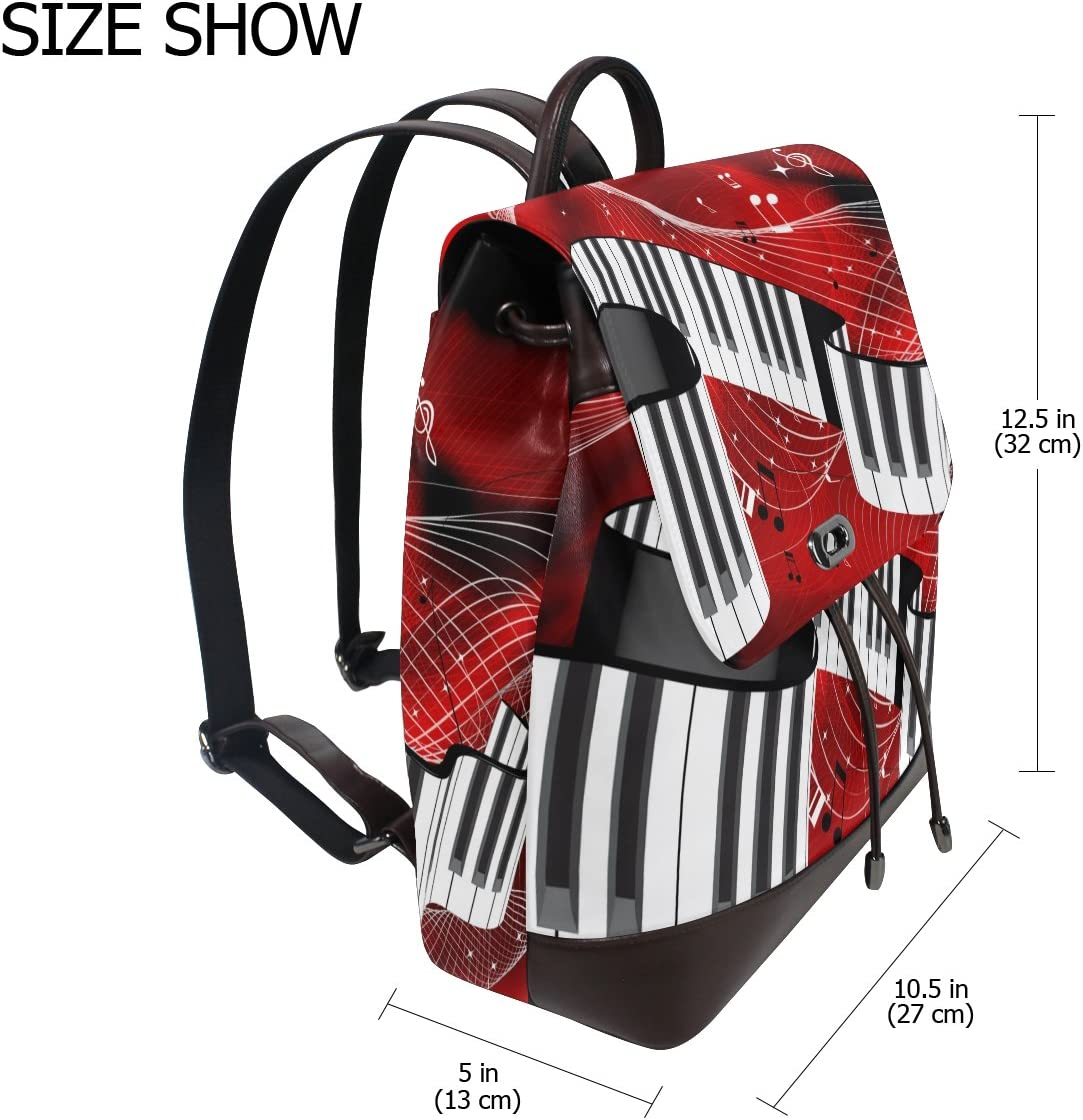 KUWT Red Abstract Music Notes PU Leather Backpack Photo Custom Shoulder Bag School College Book Bag Rucksack Casual Daypacks Diaper Bag for Women and Girl