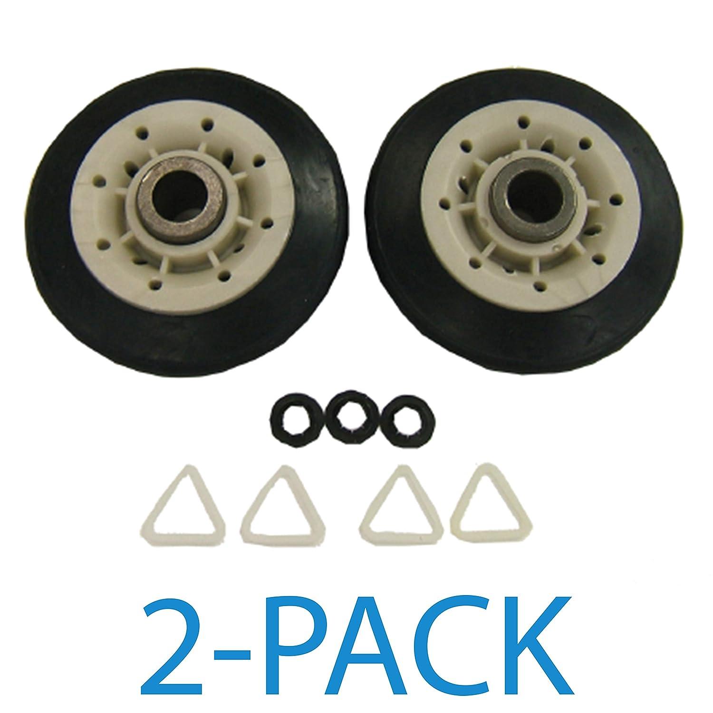 Supco DE702T Dryer Drum Roller Set For GE WE3X89 WE3X82 Whirlpool 349241T 3397588 3389901 AP3098345 337089