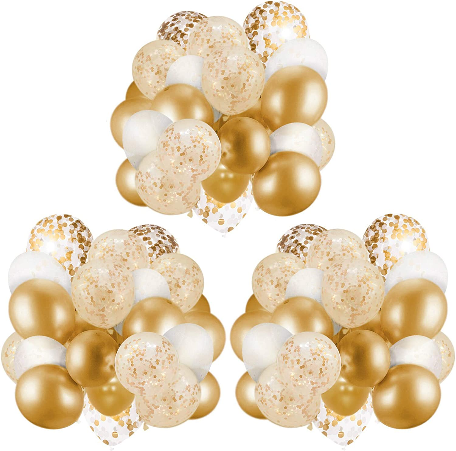 Gxhong 80 pieces balloons golden white black matellic balloons golden confetti balloons latex balloons helium colorful balloons for wedding girls boys birthday party decoration golden