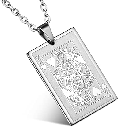 Poker player with custom heart initial Stainless Steel rope necklace