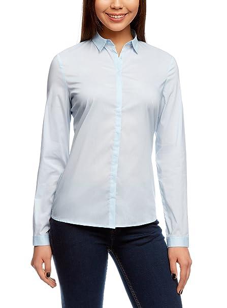 oodji Collection Mujer Camisa Recta con Cierre Oculto, Azul, ES 36 / XS