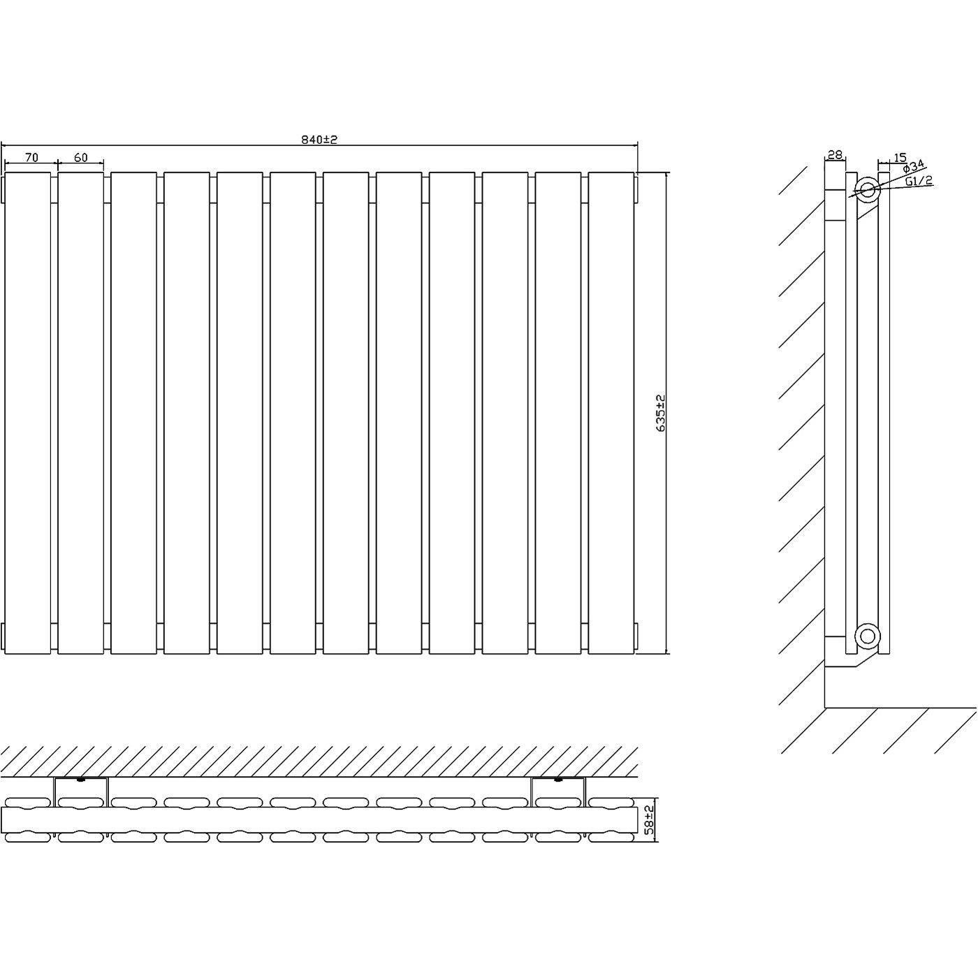 Radiador con Acabado Antracita Calefacci/ón 751W Paneles Planos Hudson Reed Radiador de Dise/ño Moderno Horizontal Delta 635 x 840mm