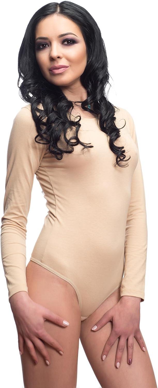 Evoni Langarm-Damenbody Verschlu/ß-Haken Stilvoller Damen-Body mit Langen /Ärmeln Unterzieh-Body mit optimaler Passform Overall Bodysuit mit Halbkragen