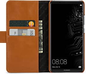 StilGut Talis, Housse Huawei Mate 10 Pro avec Porte-Cartes en Cuir véritable. Etui Portefeuille à Ouverture latérale et Languette magnétique pour pour Huawei Mate 10 Pro, Cognac