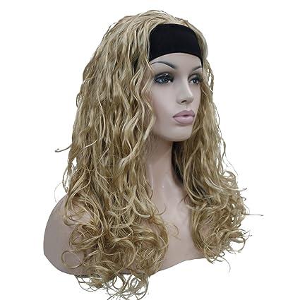 "Kalyss 24"" 3/4 peluca media color rubio pelucas onduladas rizadas largas pelucas sintéticas"