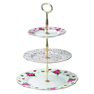 Royal Albert New Country Roses Vintage Formal 3-Tier Cake Stand, White