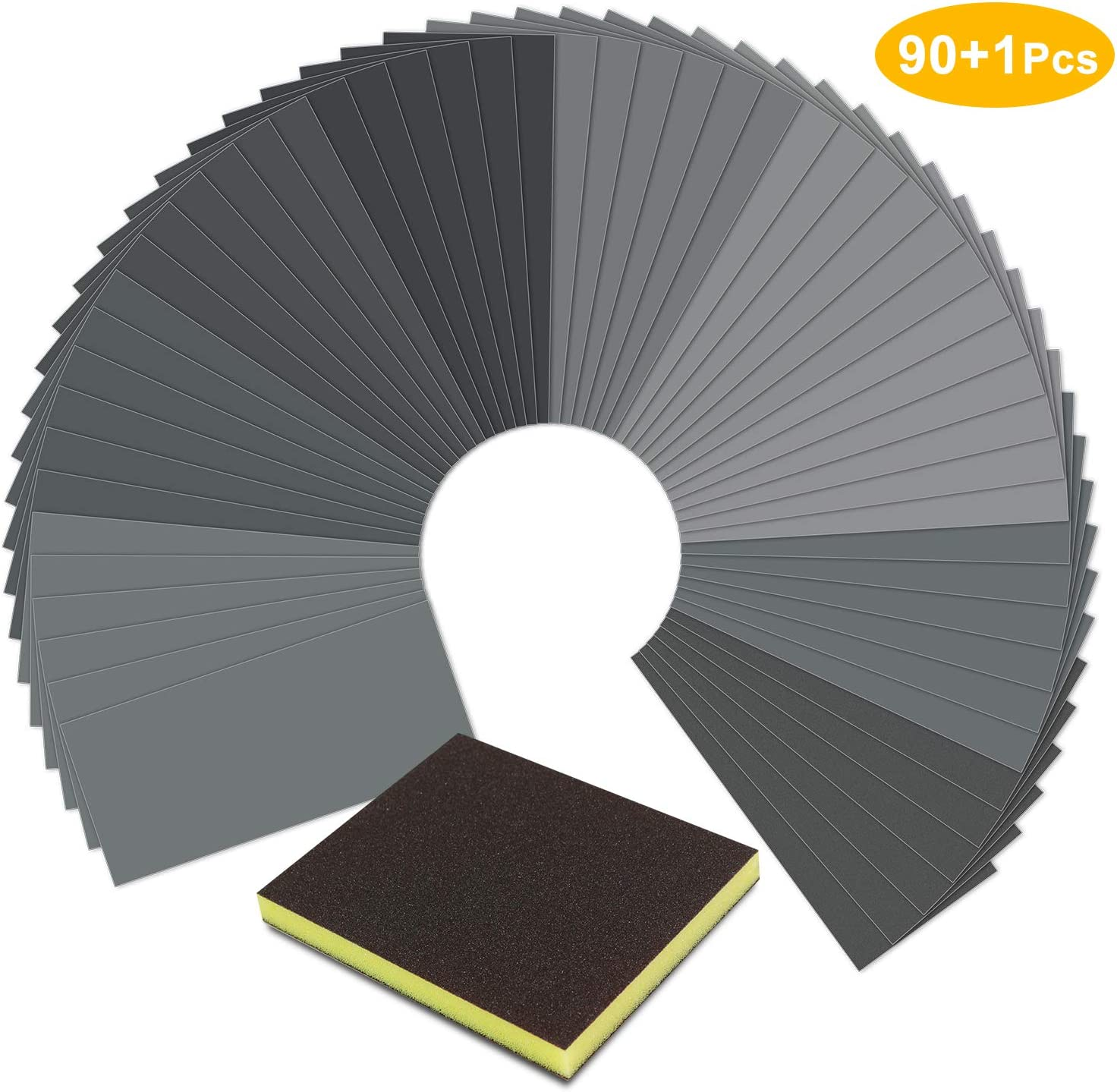 90 Pcs Sandpaper,Wet Dry Waterproof Sand Paper with Sanding Sponge Metal Sanding by SKOCHE Wood Furniture Finishing 90 Pcs 400 to 3000 Grit Sanding Paper 9x3.6 Inch for Automotive Polishing