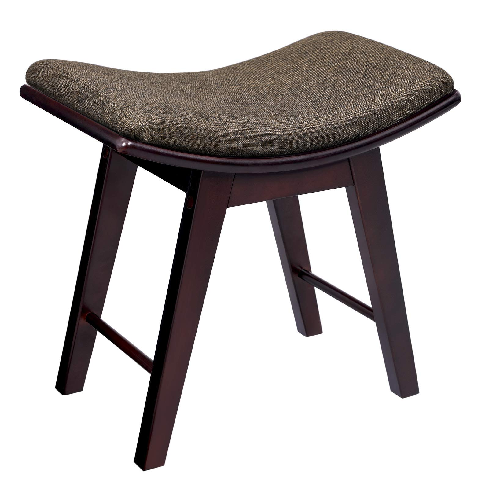 SONGMICS Vanity Stool, Modern Makeup Dressing Stool with Concave Seat Surface, Padded Bench with Rubberwood Legs, Capacity 286lb, Easy Assembly, Brown URDS51BR by SONGMICS