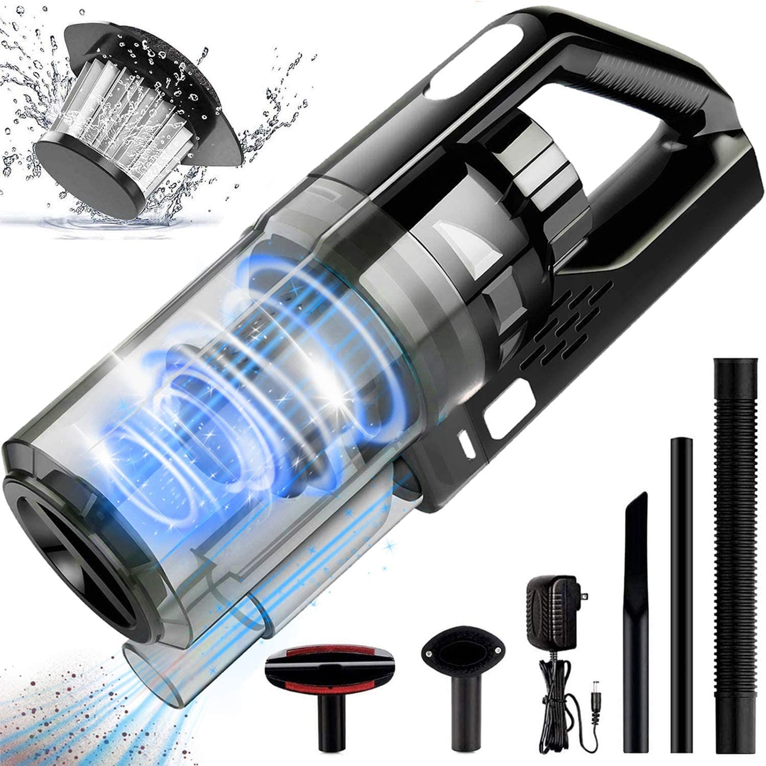 Hwook Portable Handheld Vacuum Cleaner - 8KPA Rechargeable Cordless Vacuum Handheld with Wet/Dry Powerful Cyclonic Suction Lightweight Quick Charge Vacuum Cleaner,for Home and Car Cleaning,Black&Grey
