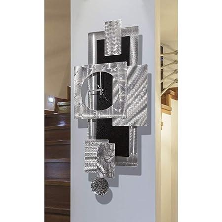 Abstract Large Decorative Wall Clock, Silver and Black Modern Metal Wall Art Decor by Jon Allen Metal Art, Titan Clock, 31-inch