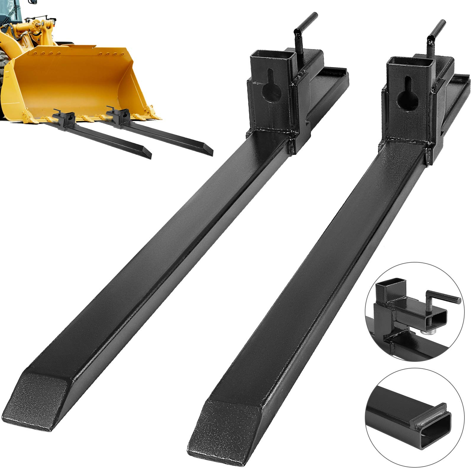 Mophorn Clamp on Pallet Forks 1500LBS Pallet Fork 30'' Pallet Forks for Tractor Bucket Loader Skid Steer (1500LBS) by Mophorn