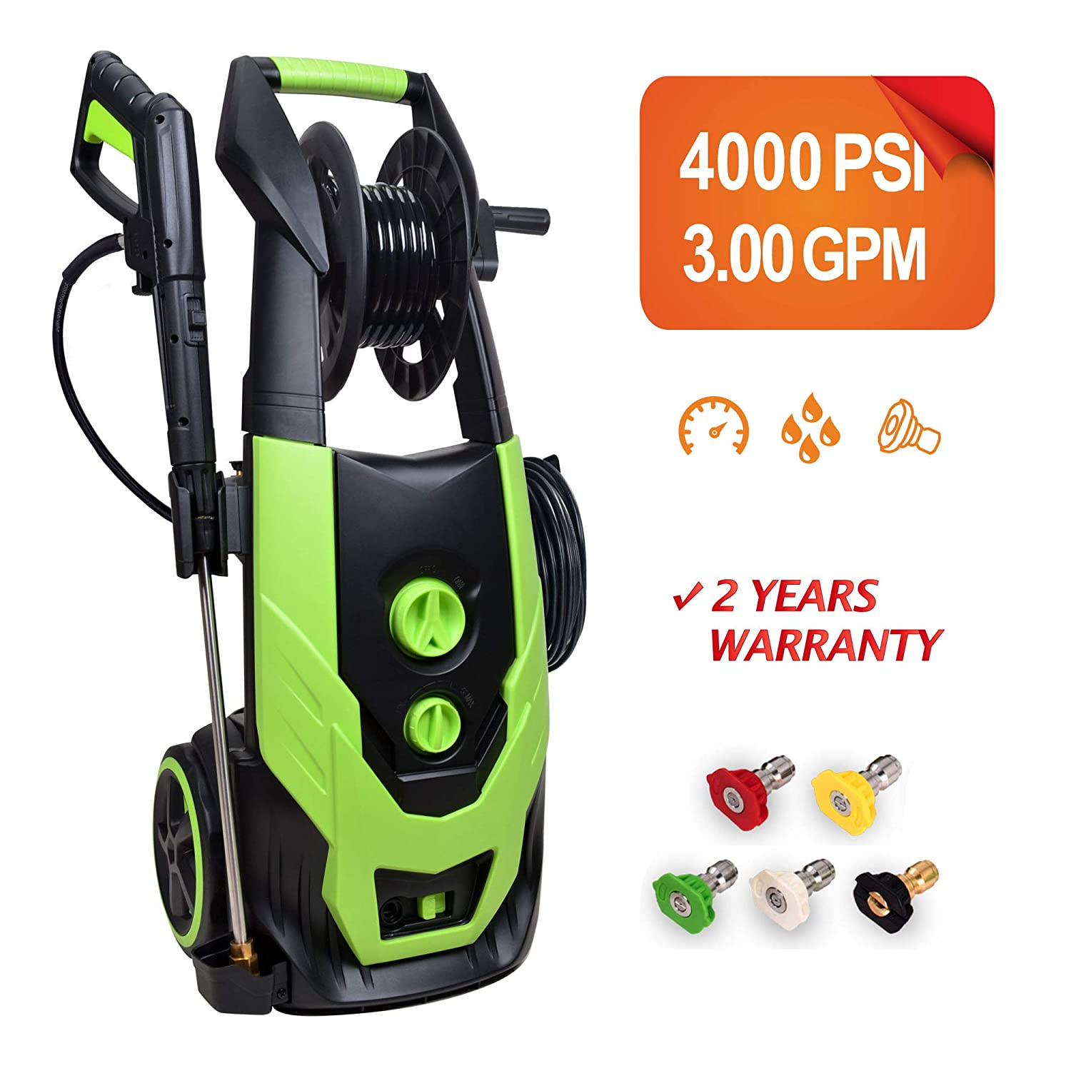 Titans 4000 PSI 3.0 GPM Electric Pressure Washer, Car Washer with Hose Reel, 5Pcs Quick-Connect Spray Tips,Built in Foam Cannon
