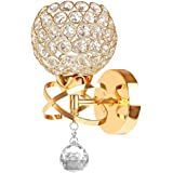 Wall Lamp, Annstory Modern Style Crystal Pendant Wall Lamp Bedroom Aisle Living Room Wall Light Holder E14 Socket, Bulb Not Included (Gold)