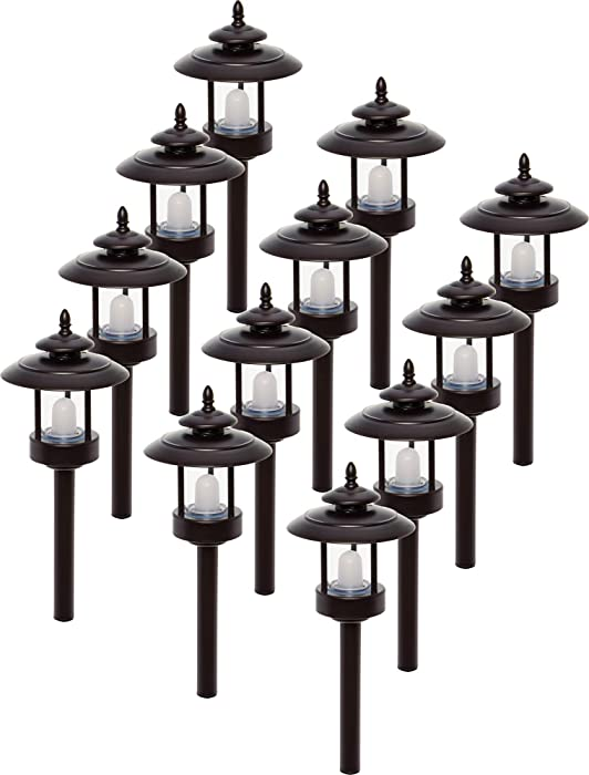 Westinghouse 12 Pack 100 Lumen Low Voltage LED Pathway Light Landscape Lights (Bronze)