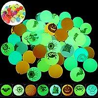 FUNNISM 48PCS Glow in The Dark Halloween Bouncing Balls,8 Halloween Theme Designs Halloween Party Supplies,Classroom…