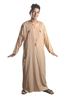 Egypt Bazar Mens Modern Kaftan House Dress Beige - Beige - XXXL