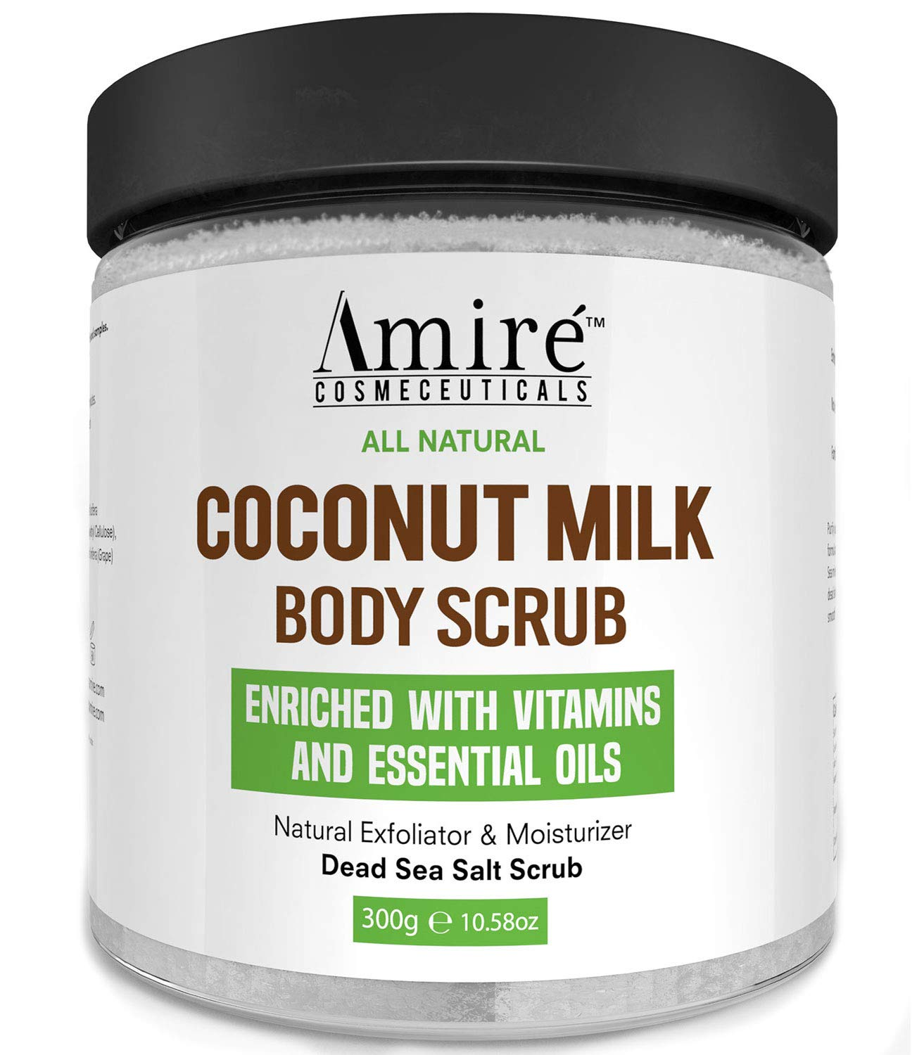 Coconut Milk Scrub For Body And Face - 100% Pure Dead Sea Salt Exfoliating and Moisturizing Scrub For Cellulite Stretch Marks, Acne and Varicose Veins with Vitamin E, Shea Butter, Argan Oil