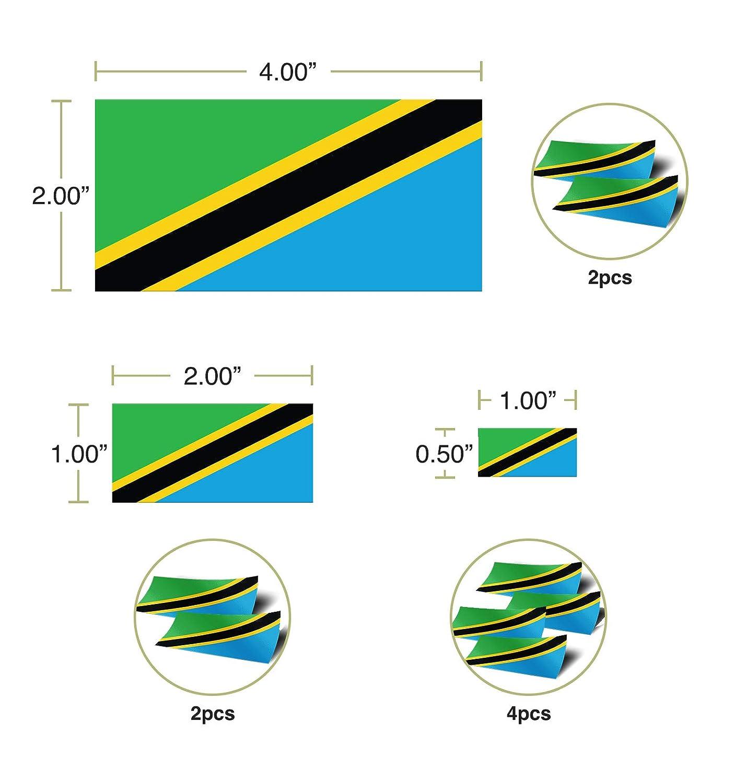 Desert Cactus Tanzania Country Flag Sticker Decal Variety Size Pack 8 Total Pieces Kids Logo Scrapbook Car Vinyl Window Bumper Laptop V