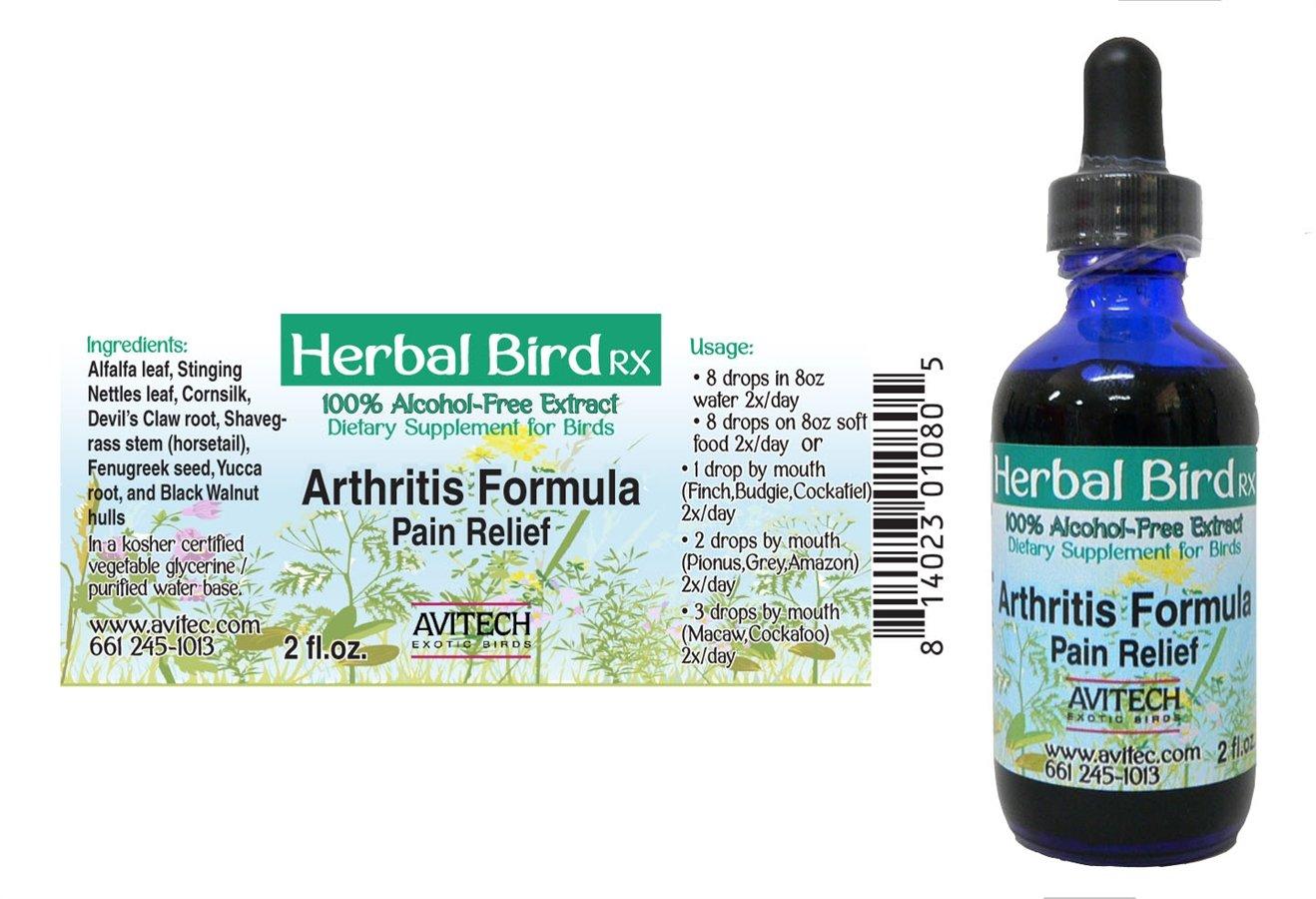 Avitech Herbal Bird Rx Arthritis Formula Pain Relief Bottle - 2oz.
