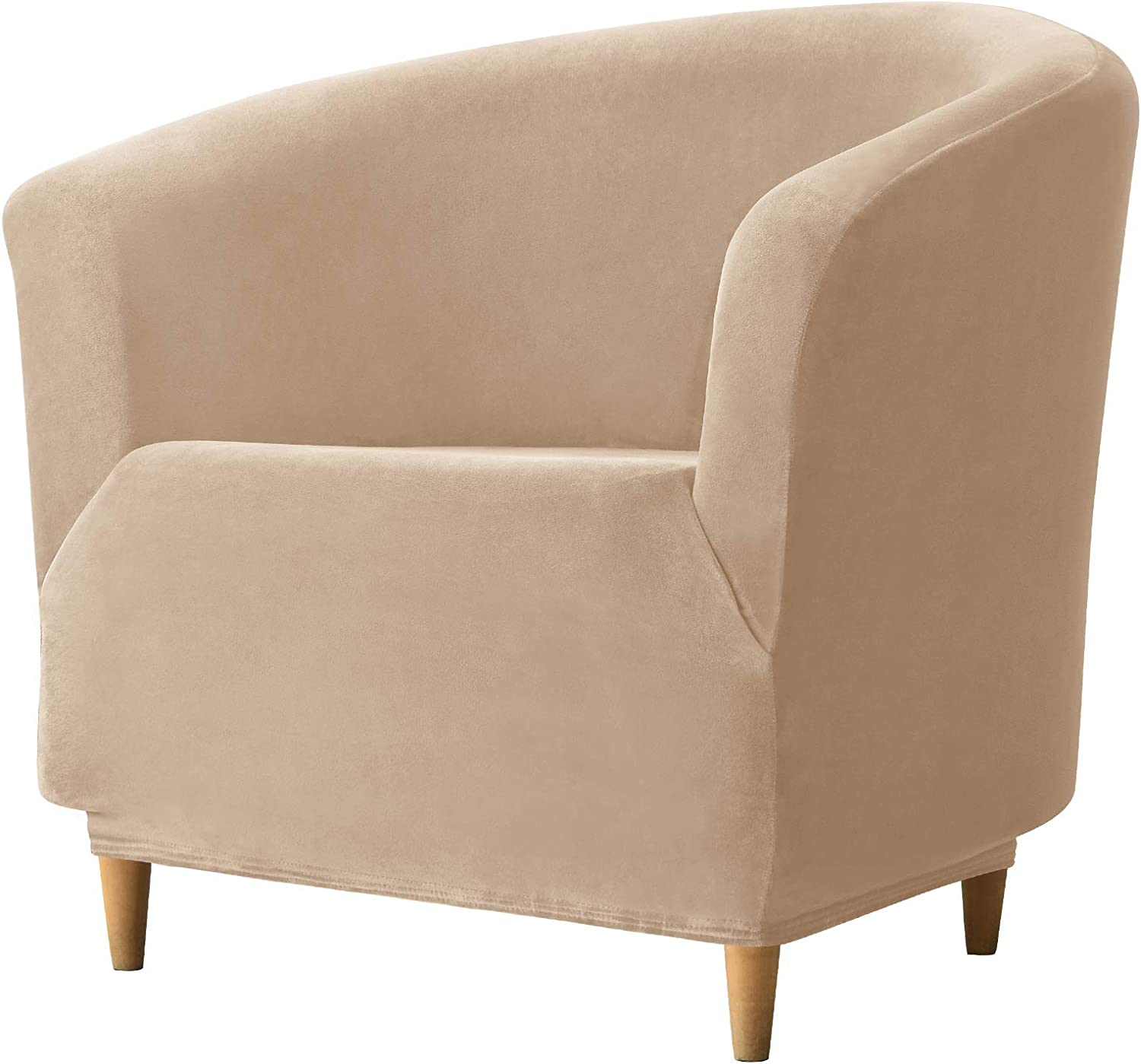REECOTEX Velvet Club Chair Slipcover, Soft Stretch Tub Chair Cover for Living Room and Bedroom, Washable and Removable Armchair Protector, Furniture Protector for Home Decor,Beige