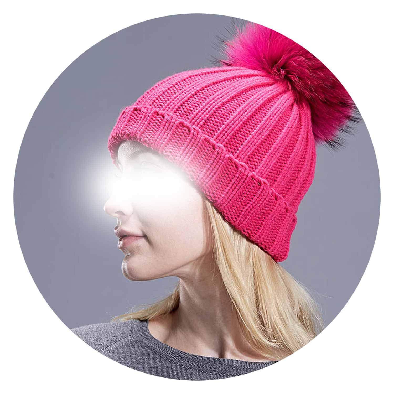Pompom Beanies Winter Womens Hats Knitted Skullies Real Pom pom Cap Gorros Bonnet Femme Hat for Girl,C,Adult