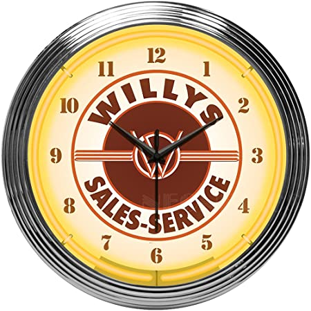 Neonetics Willys Sales Service Jeep Neon Clock