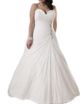 Ll Bridal Women Tulle Sweetheart Wedding Dress Plus Size Bride Lace