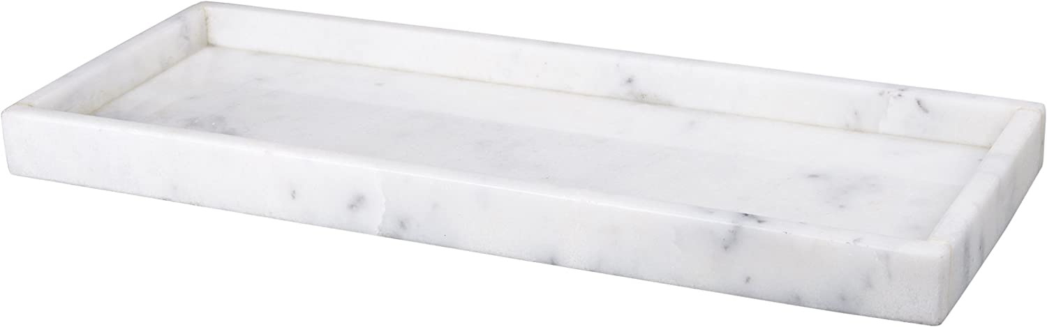 """Creative Home Natural Marble All Purpose Organizer Tray, 16"""" x 6"""" x 1.5"""" H, Off-White"""