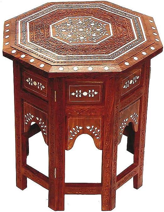 Mesa auxiliar de madera tallada marroquí oriental indio: Amazon.es ...