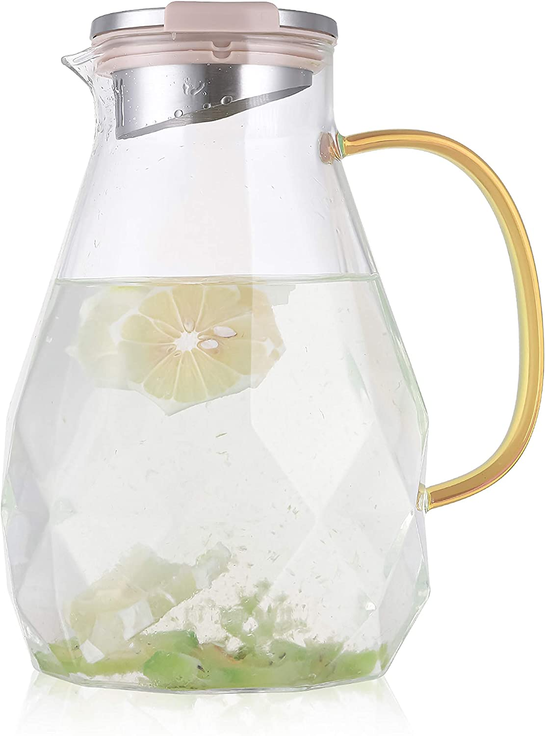 Cedilis 85 Ounces Glass Pitcher with Stainless Steel Lid, Diamond Pattern Water Carafe with Handle, Borosilicate Beverage Pitcher for Homemade Iced Tea, Juice and Cold & Hot Water