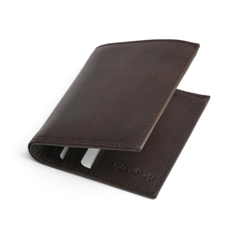 Style n Craft 391002 Slim Bifold Hipster Leather Wallet in Dark Brown