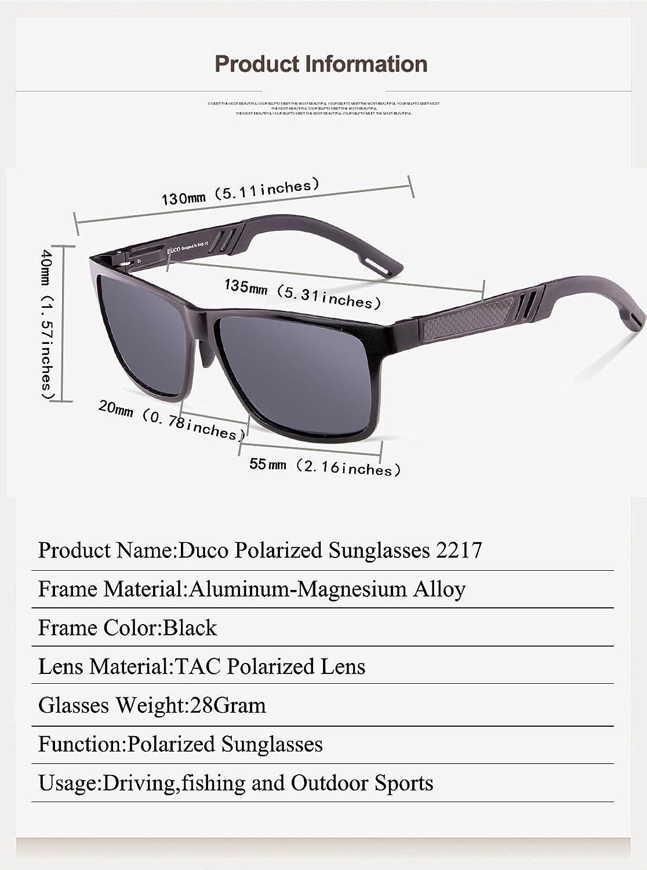 59b947e6c2 Amazon.com  Duco Men s Sports Style Polarized Sunglasses Driver Glasses  2217 Black Frame Gray Lens  Clothing