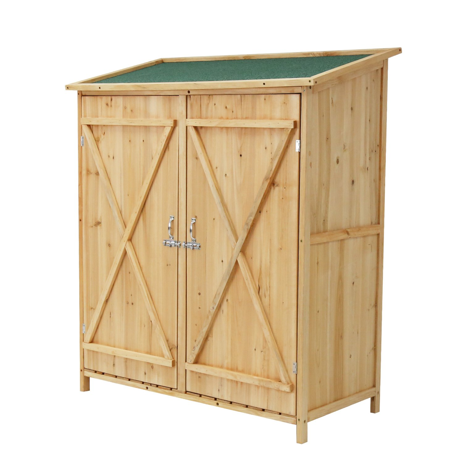 Peach Tree Wooden Outdoor Garden Shed Lockable Storage Unit With Double Doors&Chair
