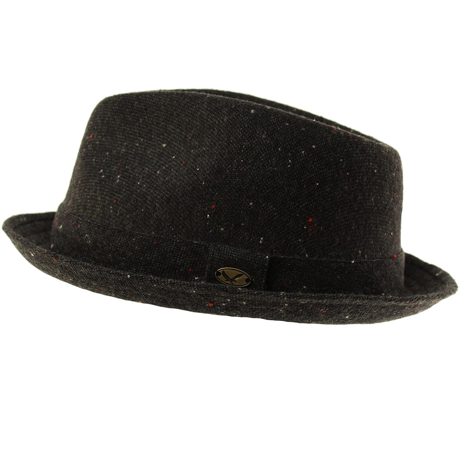 SK Hat shop Mens 100/% Soft Wool Tweed Winter Fall Derby Fedora Uprturn Curl Hat