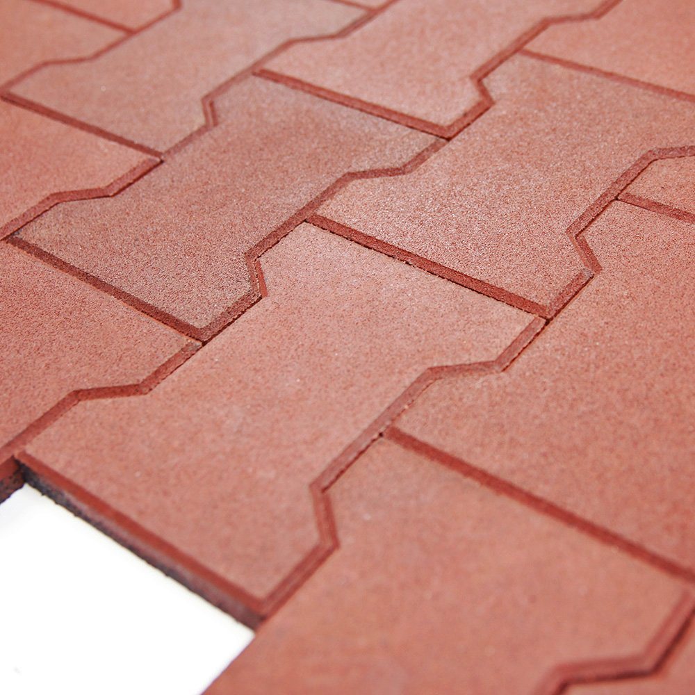 RevTime Garden Rubber Paver 1 Inch Thick for Patio and Garden Safety Rubber Walkways, Interlocked Rubber Paver, Park Sidewalk Paver, Terra Cotta (Pack of 20)