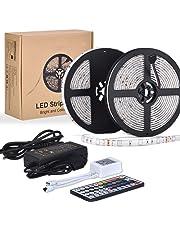 10M LED TV Retroilluminazione RGB Striscia, ESEYE 5050 Autoadesiva LED Strisce Impermeabile Flessibile/Accorciabile/Divisibile/Collegabile Nastri Led 24W 10 Metri di Luci Colorate Decorative Esterno