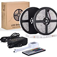 10M RGB Tira de LED TV 12V con Chip SMD 5050,ESEYE IP65 Impermeable Flexibles Multicolor 300 LEDs Strip Tiras Con Mando a Distancia y Adaptador Corriente Luce de LED Para Fiestas/Luz Ambiental