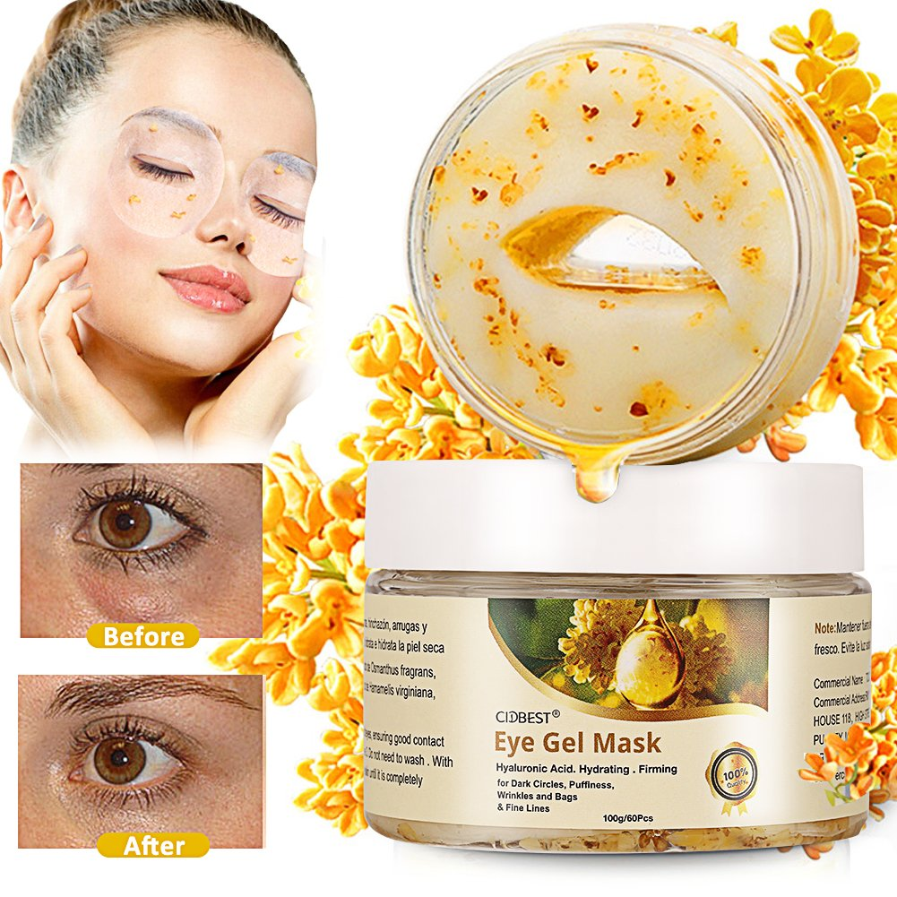 Gold Eye Mask, Collagen Eye Mask, Eye Wrinkle Pads, collagen eye pads, Hyaluronic Acid anti aging eye mask for Dark Circles, Puffiness, Wrinkles and Bags & Fine Lines - 30 Pairs
