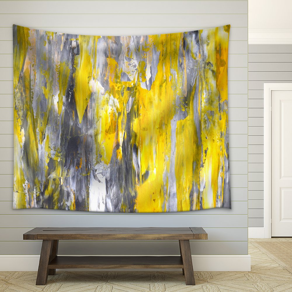 Grey and Yellow Abstract Art Painting Fabric Wall - Tapestry | Wall26