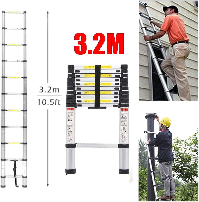 Escalera telescópica de 3,2 m, de aluminio, multiusos, plegable, escalera compacta para interior y exterior, escalera de trabajo, escalera de seguridad con bloqueo de carga máxima de 150 kg: Amazon.es: Bricolaje y