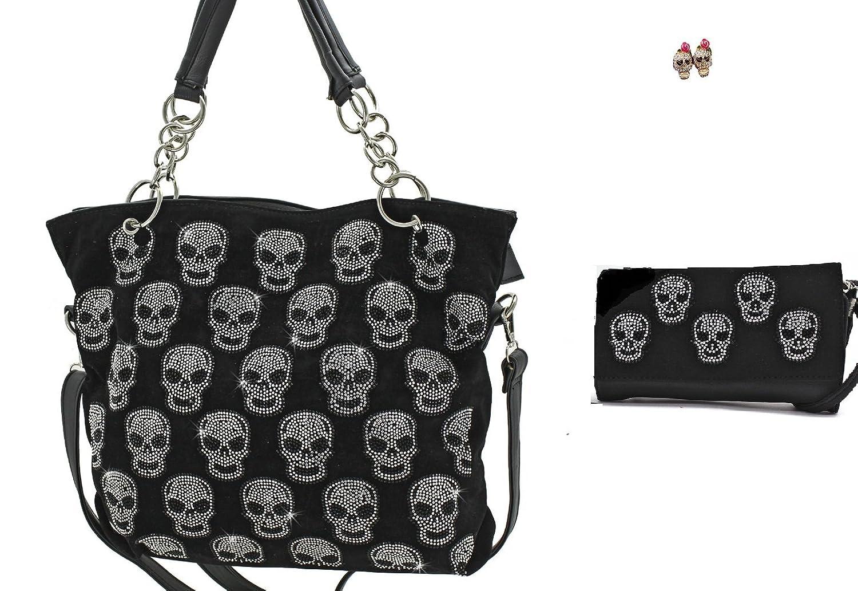 SW Skull Concealed Weapon Carry Handgun Purse Wallet Earrings Set Black