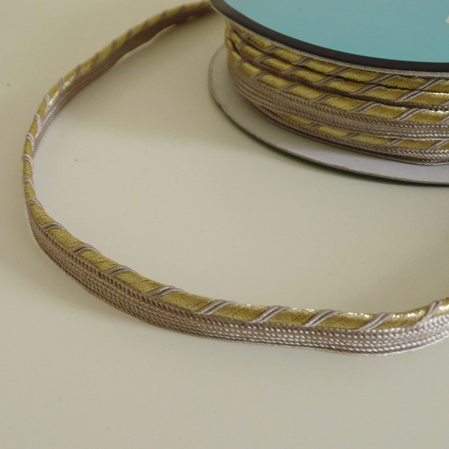 luxury braid Twisted Gold lurex flanged insert piping cord trim sold by the metre Beige