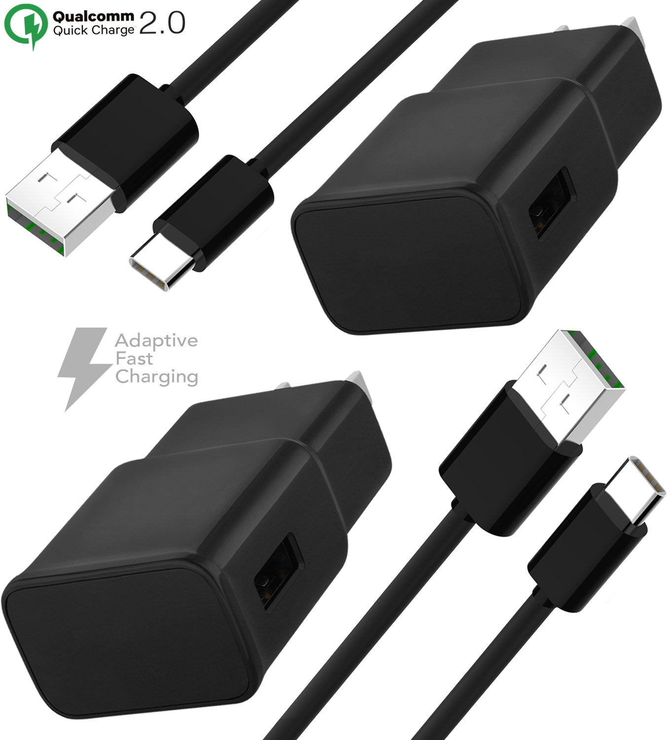 Note 9 USB Type-C Cable Adaptive Fast Wall Charger Samsung Galaxy S9, Galaxy S9 Plus, Galaxy S8, LG G6 G5 V30 V20, Google Pixel 2, Nexus 5X 6p, GoPro5 OnePlus 5, HTC U11 (Fast Wall Carger + 2 Cable)