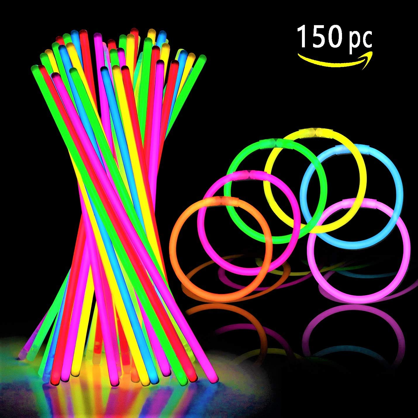 150 Ultra Bright Glow Sticks - Total 300 Pcs - 8'' Necklaces And Bracelets Glow Stick With Connectors - Bulk Party Pack Ultra Bright Glowsticks - 10 Hour Duration - Mixed Colors In 3 Tubes by Glowing U.S. inc (Image #4)