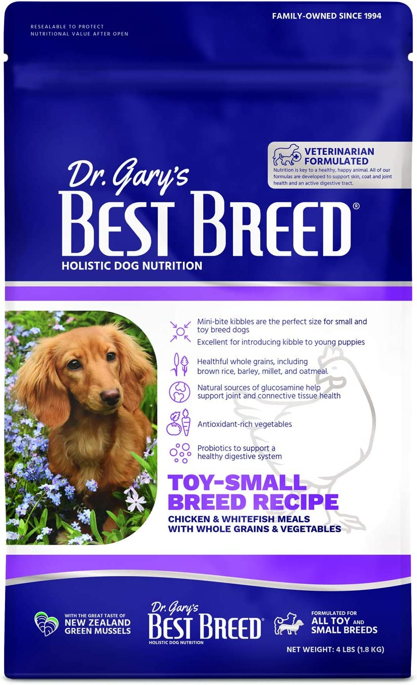 Dr. Gary's Best Breed Small Breed Recipe Made in USA [Natural Dry Dog Food for All Breeds and Sizes] - 4lbs, Dark Brown (7-22301-88151-4)