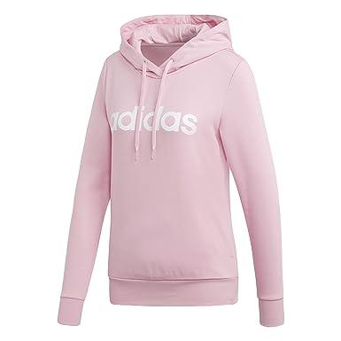 8398dcb79b66d adidas Damen Essentials Linear Open Overhead Hooded Sweatshirt, True Pink/White,  XS