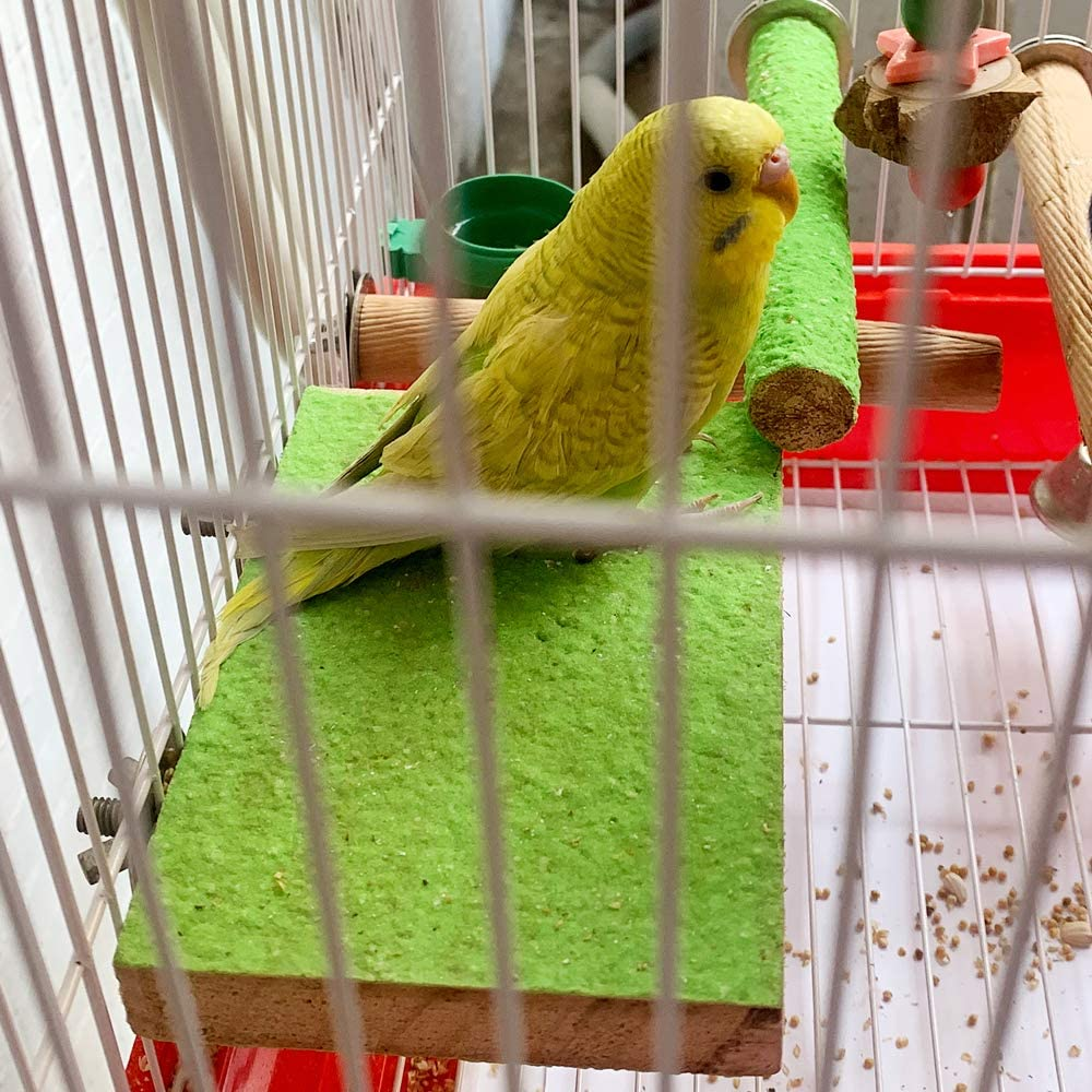 LIMIO Bird Perch for Cockatiels Parakeet Swing Toys Conures Stand 5 Types of Perches Rough Sand Wood Perch Rope Perch Parrot Hamster Cage Accessories