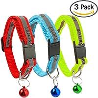 Kitygo® 3Pack reflektierendes Katzenhalsband mit Glocke–Ideale Größe Halsbänder für Katzen oder Kleine Hunde, Sicherheit Quick Release abtrünnigen Schnalle (Set von 3)