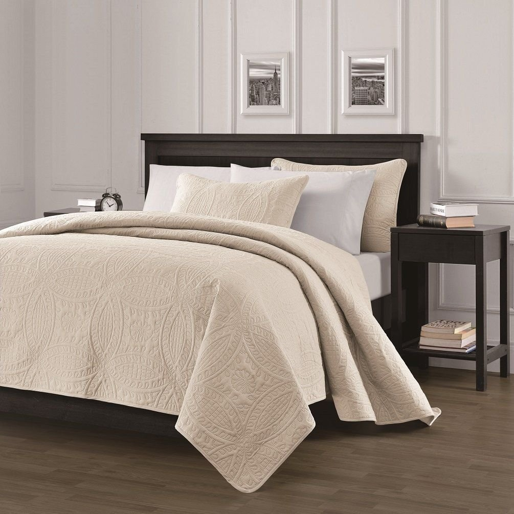 Chezmoi Collection Austin 3-piece Bedspread Coverlet Set King, Khaki